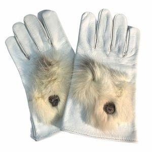 🔥NEW!🔥WHITE LEATHER GLOVES WITH FUR APPLIQUÉ